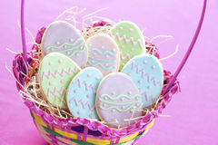 Easter egg cookies. In basket Stock Photos