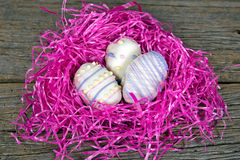 Easter egg cookies in nest Stock Photos