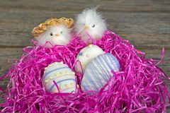 Easter egg cookies in nest Royalty Free Stock Images