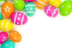 Easter egg corner border over white Stock Photography