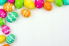 Easter egg corner border over white wood Stock Photos