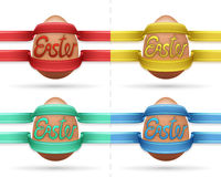 Easter egg covered by festive colorful streamer collection. Easter theme  illustration with my own text font Stock Images