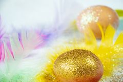Easter egg with golden glitters and colofrul feathers royalty free stock image