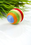 Easter egg with woollen yarn Stock Images