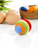 Easter egg covered with woolen yarn Royalty Free Stock Photos