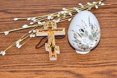Easter egg and cross. Royalty Free Stock Photography