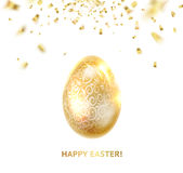 Easter egg with curves of ribbon confetti. Golden confetti and egg on the background. Happy easter. Holiday card. Template for your design. Vector illustration Stock Photography