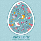 Easter egg cute floral card with  birds Stock Photography