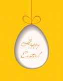 Easter egg cutted from orange paper. Greeting card Stock Image