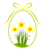 Easter egg with daffodil decor Royalty Free Stock Photo