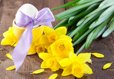 Easter egg and daffodils Royalty Free Stock Photos