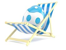 Easter egg with deck chair. On white background Royalty Free Stock Photography