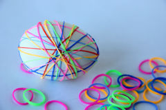 Easter egg. Decorated with colored rubber bands Stock Image