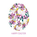 Easter Egg decorated with different floral elements pattern. Vector illustration. Greeting vector card. Easter Egg decorated with different floral elements Stock Photos