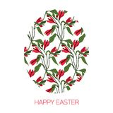 Easter Egg decorated with different floral elements pattern. Vector illustration. Greeting vector card symbol. Easter Egg decorated with different floral Stock Images