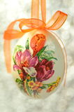 Easter egg decorated with flowers made by decoupage technique Stock Images