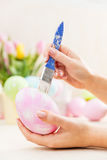 Easter egg decorating in an atelier. Stock Photography