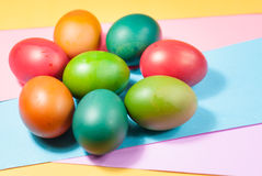 Easter egg decorating colorful backgrounds variety of bright colors Stock Images