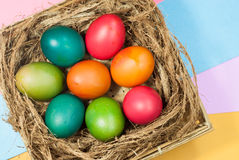 Easter egg decorating colorful backgrounds variety of bright colors. Easter egg decorating colorful background various bright colors, with a focus on the object Royalty Free Stock Image