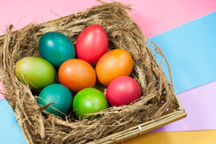 Easter egg decorating colorful backgrounds variety of bright colors. Easter egg decorating colorful background various bright colors, with a focus on the object Royalty Free Stock Images