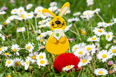 Easter egg decoration in green grass Royalty Free Stock Photos