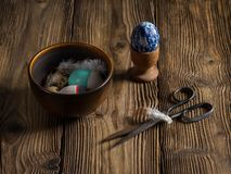Easter egg decoration on weathered wooden boards royalty free stock photo