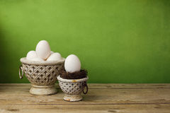 Easter egg decoration on wooden table Stock Photography