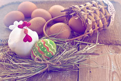 Easter egg and decorative chicken Royalty Free Stock Photo