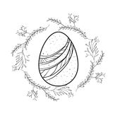 Easter egg with decorative lines and branches around in monochrome silhouette Stock Images