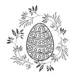 Easter egg with decorative lines and stars and branches frame around in monochrome silhouette Stock Image