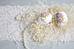 Easter Egg decoupage, lace and pearl Stock Photography