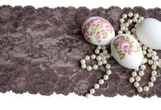 Easter Egg decoupage, lace and pearl Royalty Free Stock Image
