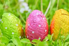 Easter egg deposited on the prairie grass. Colorful Easter egg deposited on the prairie grass Royalty Free Stock Images