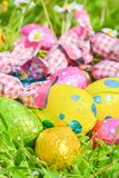 Easter egg deposited on the prairie grass Stock Photo