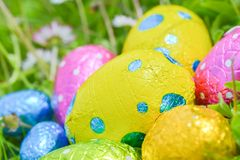 Easter egg deposited on the prairie grass. Colorful Easter egg deposited on the prairie grass Royalty Free Stock Photo