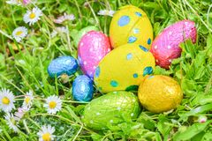 Easter egg deposited on the prairie grass. Colorful Easter egg deposited on the prairie grass Royalty Free Stock Image
