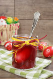 Easter egg dye. Coloring Easter eggs. Eggs dyed with red color. DIY concept Stock Photography