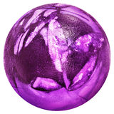 Easter Egg Dyed Deep Purple and Decorated with Leaves Imprints Top View Isolated on White Background. Hand painted Purple Easter Egg, decorated with Weed Leaves Stock Photography