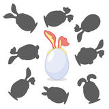 Easter egg with ears. Find the right shadow image. Educational games for kids. Easter egg with ears Royalty Free Stock Images