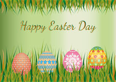 Easter egg on easter background. Easter day background with easter egg on meadow stock illustration