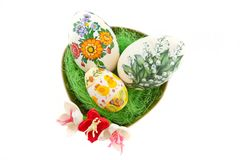 Easter egg. Decorated isolated on white Royalty Free Stock Photos