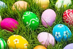 Easter egg. Easter design spring grass purple holiday royalty free stock image