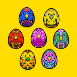 Easter egg, egg-bird ethno ornament. Hand-drawn egg, hand-drawn bird royalty free illustration