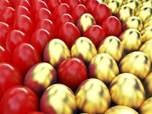 Easter egg and eggs background. Easter egg with red & gold eggs background Stock Image