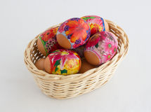 Easter egg. S in a wattled basket from a rod Stock Photography