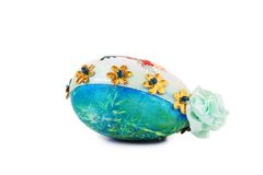 Easter egg with embroidery. Stock Photos