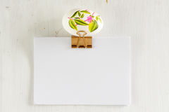 Easter egg on empty clipboard Stock Photography