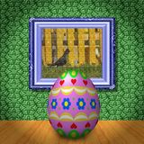 Easter egg in empty room generated texture Stock Photos
