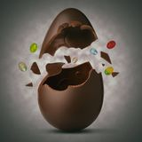 Easter egg exploded. On a white background Royalty Free Stock Photos