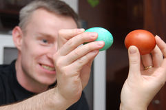Easter egg fighting Stock Images